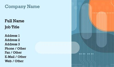 Blue and Orange Circuit Business Card Template